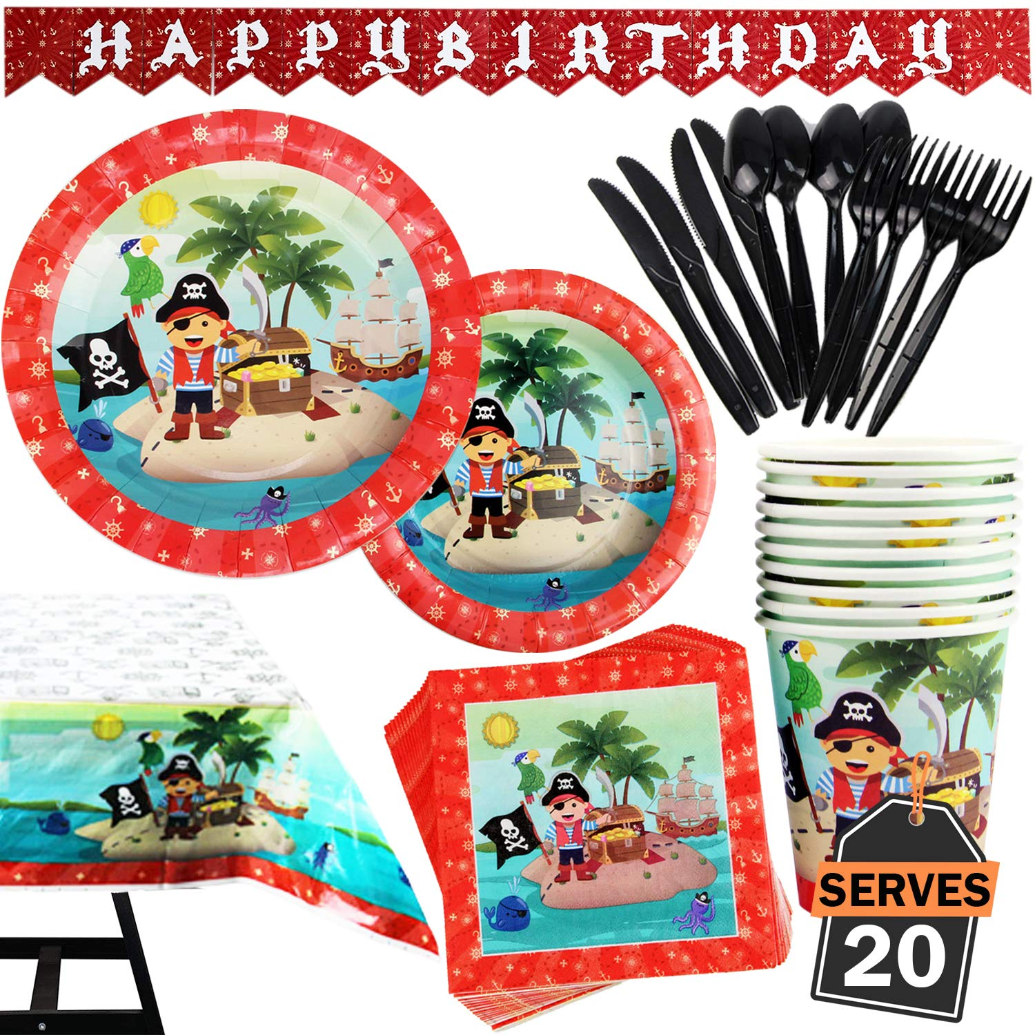 142 Piece Pirate Party Supplies Set Including Banner, Plates, Cups, Napkins, Tablecloth, Spoon, Forks, and Knives, Serves 20