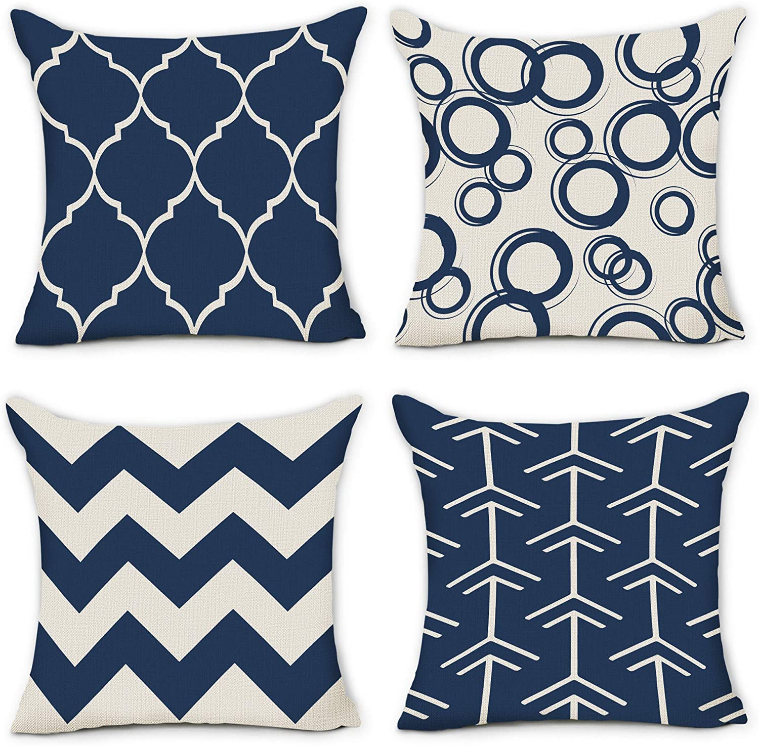 pinata blue pillow covers 18x18 set of 4 beige not white outdoor decorative throw pillows cases bright royal navy blue geometric farmhouse summer