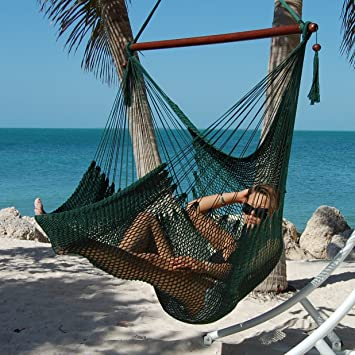 large caribbean hammock chair   48 inch   polyester   hanging chair   green amazon     large caribbean hammock chair   48 inch   polyester      rh   amazon