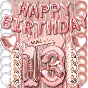 Rose Gold 13 Birthday Party Decorations Supplies Set for Girls with Happy Birthday Balloons Banner and 13th Number Balloons