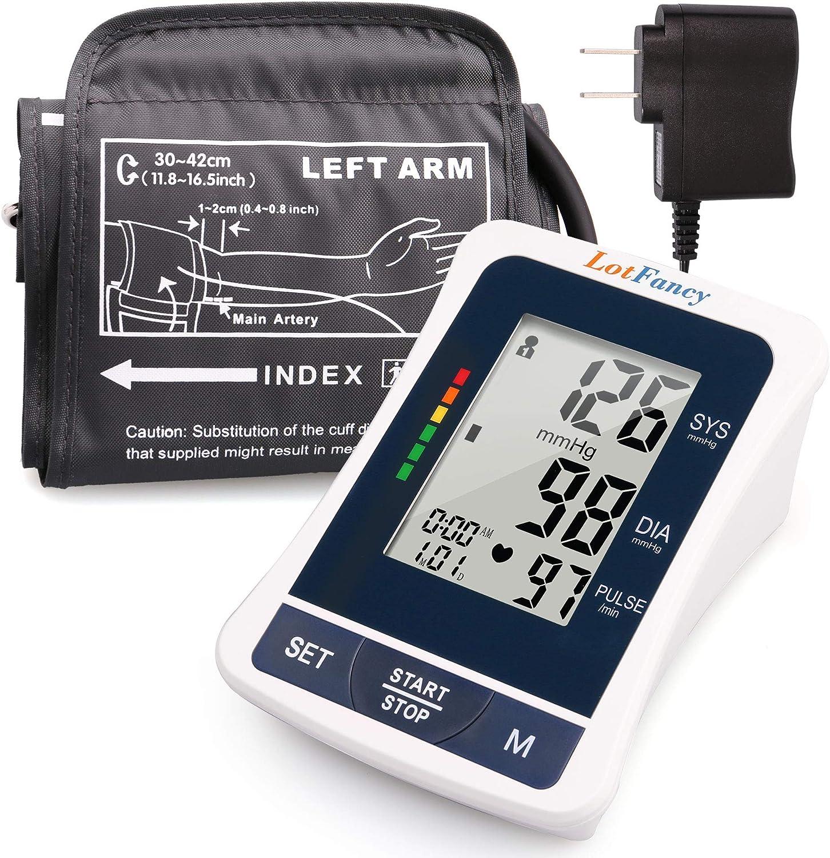 LotFancy Blood Pressure Monitor, Automatic BP Gauge & Upper Arm Large Cuff(12