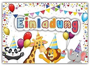 12 Einladungskarten Zum Kindergeburtstag U0026quot;Zoo Tiereu0026quot; //  Geburtstagseinladungen Einladungen Geburtstag Kinder Jungen