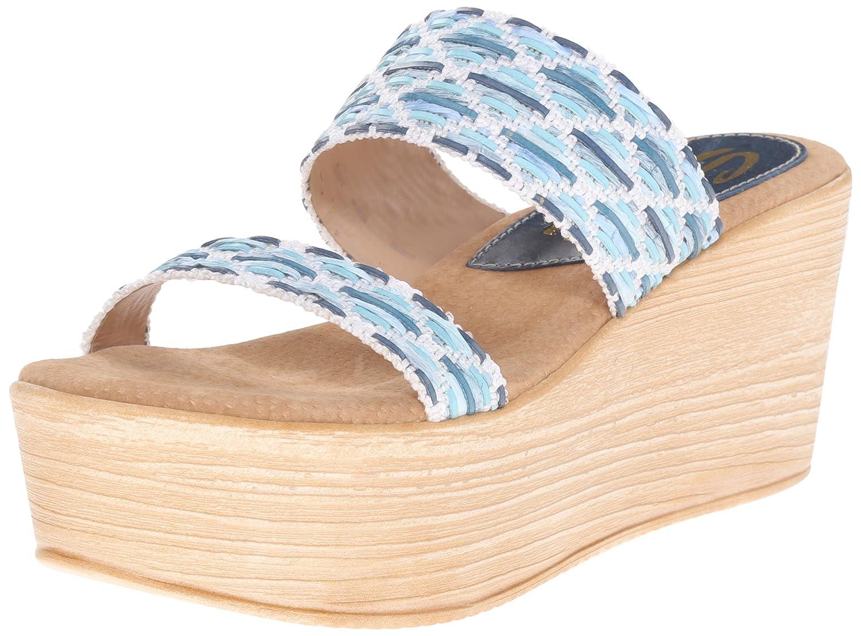 Sbicca Women's Sesillia Wedge Sandal B015W69N5E 8 B(M) US|Blue/Multi