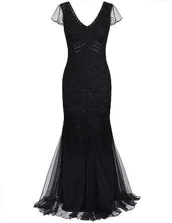 Prettyguide Women 1920s Prom Gown Long Mermaid Formal Evening Dress