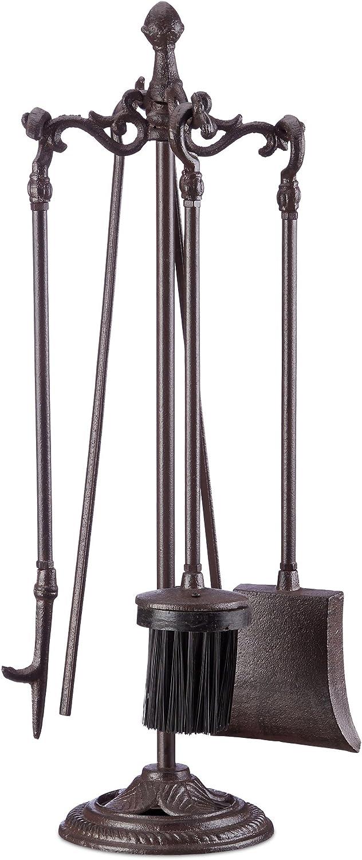 Hierro Fundido Braun Kit de Chimenea Relaxdays Kaminbesteck 5-Teilig Zange Besen Sch/ürhaken Halter Schaufel HxBxT 51 x 18 x 18 cm Kamingarnitur 1 Set Marr/ón