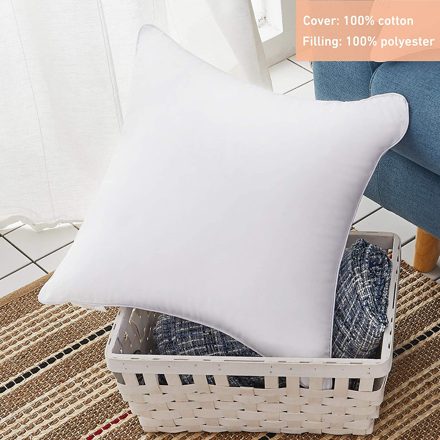 Favriq 100 Cotton Cover 18 X 18 Pillow Inserts Set Of 2 Throw Pillow Inserts Square Interior Sofa Pillow Inserts Decorative Pillow Insert Pair White Couch Pillow Kitchen Dining