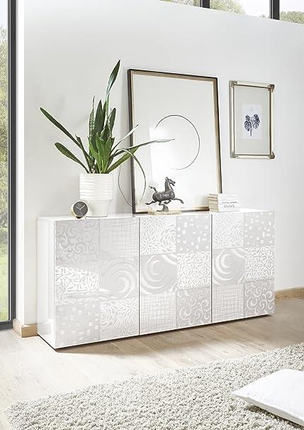 Arredocasagmb.it Mobile credenza Contenitore 3 Ante Moderno Bianco Lucido  Anta con Serigrafia Soggiorno Madia Buffet con sportelli Design Mira 05