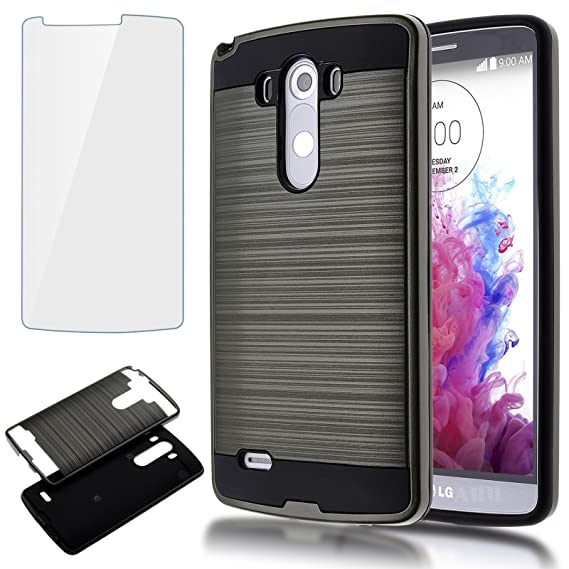 best service 89820 02b24 LG G3 Case,AUU Dual Layer Hybrid Silicon+Plastic Slim Brushed Metal Texture  Full Body Impact Resistant Armor Shockproof Heavy Duty Skin Cover Shell ...