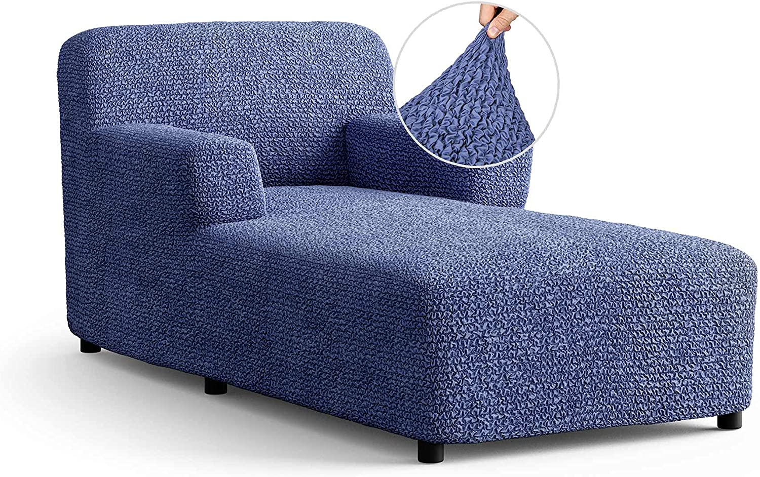 Chaise Lounge Cover - Lounge Chair Sofa Slipcover- Soft Polyester Fabric Slipcovers - 1-Piece Form Fit Stretch Furniture Slipcover - Microfibra Collection - Blue (Chaise Lounge)
