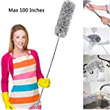 Best Microfiber Cobweb Duster with Sturdy Extension Pole 50 - 70 - Bendable Extendable Fluffy Feather Duster Long Handled Duster for Interior Roof Ceiling Fan - Wet or Dry Use