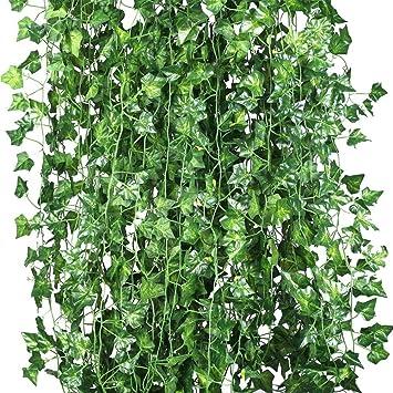 Weimi Packung Mit 12 Künstliche Reben Pflanzen Gefälschte Blumen Ivy  Hängenden Girlande 80 Blätter 6.88ft