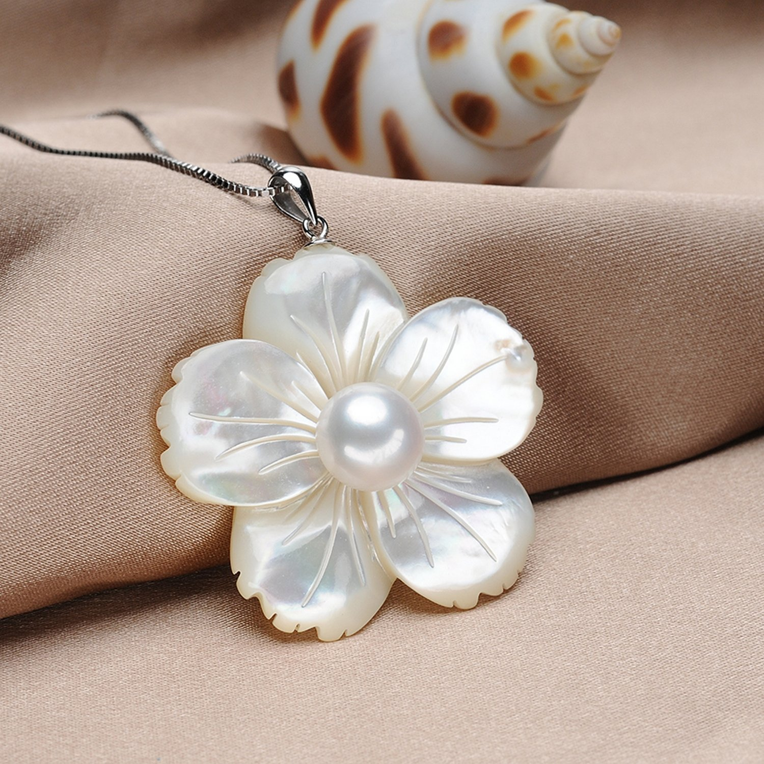 CS-DB Jewelry Silver Shell Carving Pearl Chain Charm Pendants Necklaces