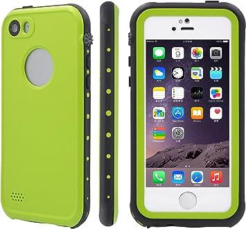 XIKEZAN - Funda para iPhone 5/5S (resistente al agua, a prueba de golpes, rígida, con protector de pantalla), verde, iPhone SE