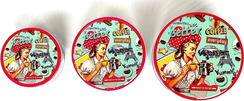 DiiliHiiri Lata para Galletas Retro Redonda Estilo Vintage Juego de 3 Piezas Bote de Metal Recipiente con Tapa Caja Metalica Flamenco