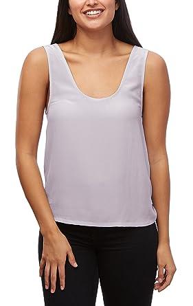 83ff93e60db42 MoonCats Women s 100% Pure Silk Tank Top Sleeveless Crepe de Chine Camisole  (Light Grey