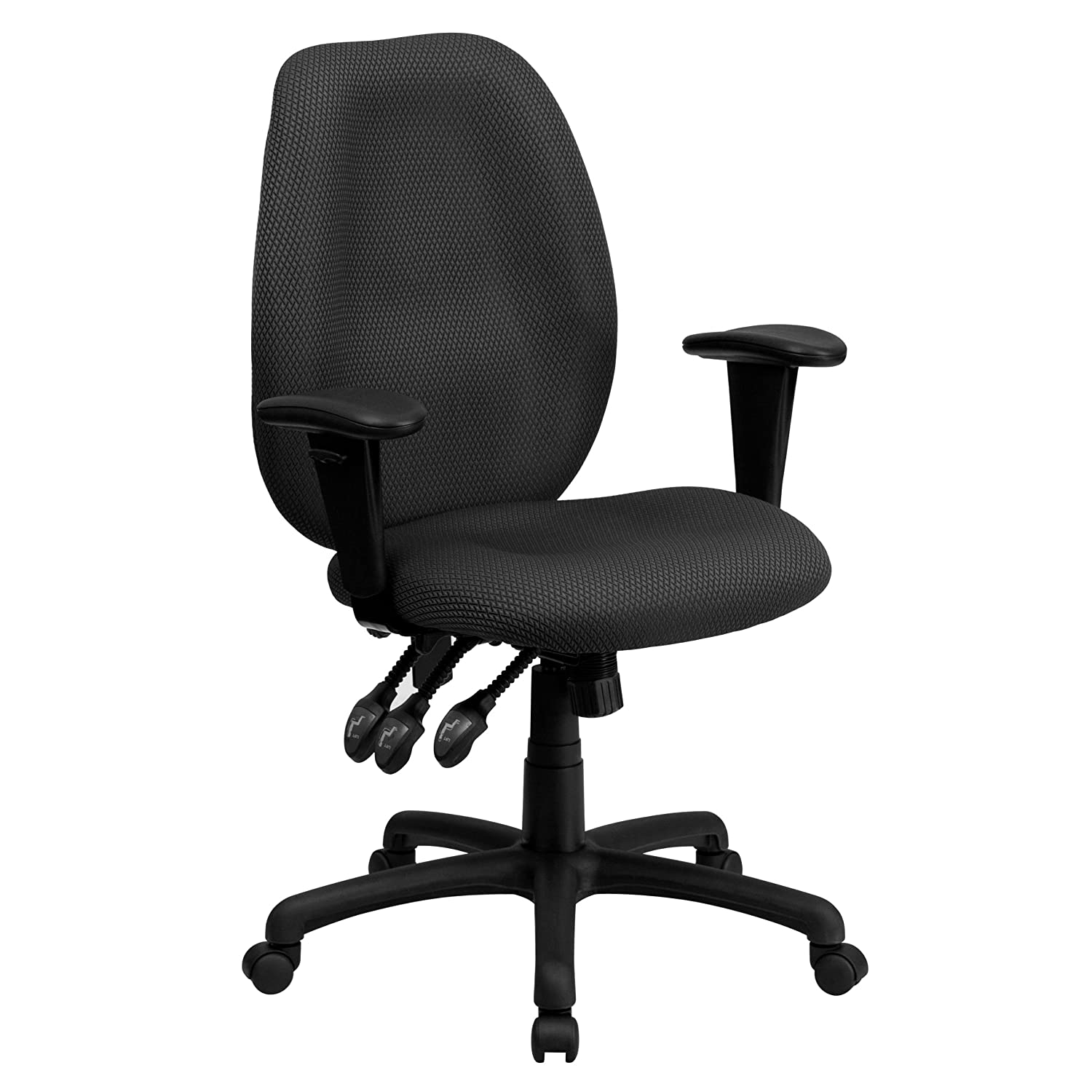 Flash Furniture High Back Gray Fabric Multifunction Ergonomic Executive Swivel Chair with Adjustable Arms