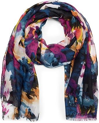 styleBREAKER Écharpe d été légère avec motif batik à fleurs multicolore,  franges, foulard ebb53beb5fe