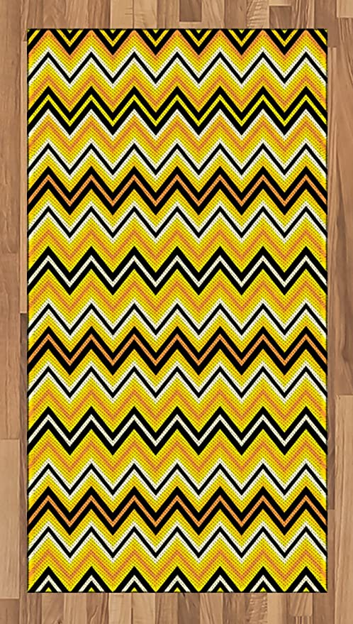 Amazon Com Ambesonne Yellow Chevron Area Rug Horizontal Zigzag Stripes In Vibrant Colors Modern Graphic Flat Woven Accent Rug For Living Room Bedroom Dining Room 2 6 X 5 Yellow Orange Black Kitchen