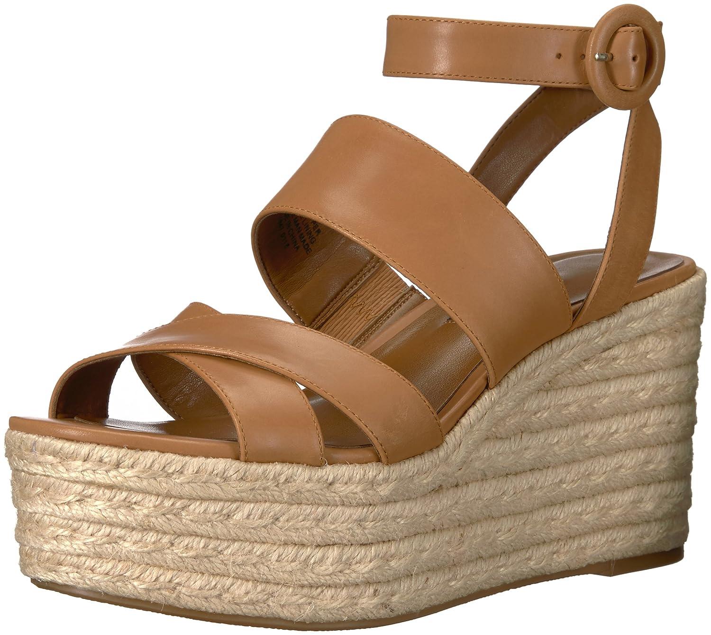 Nine West Women's Kushala Leather Wedge Sandal B074PXXDW6 11 B(M) US|Dark Natural Leather