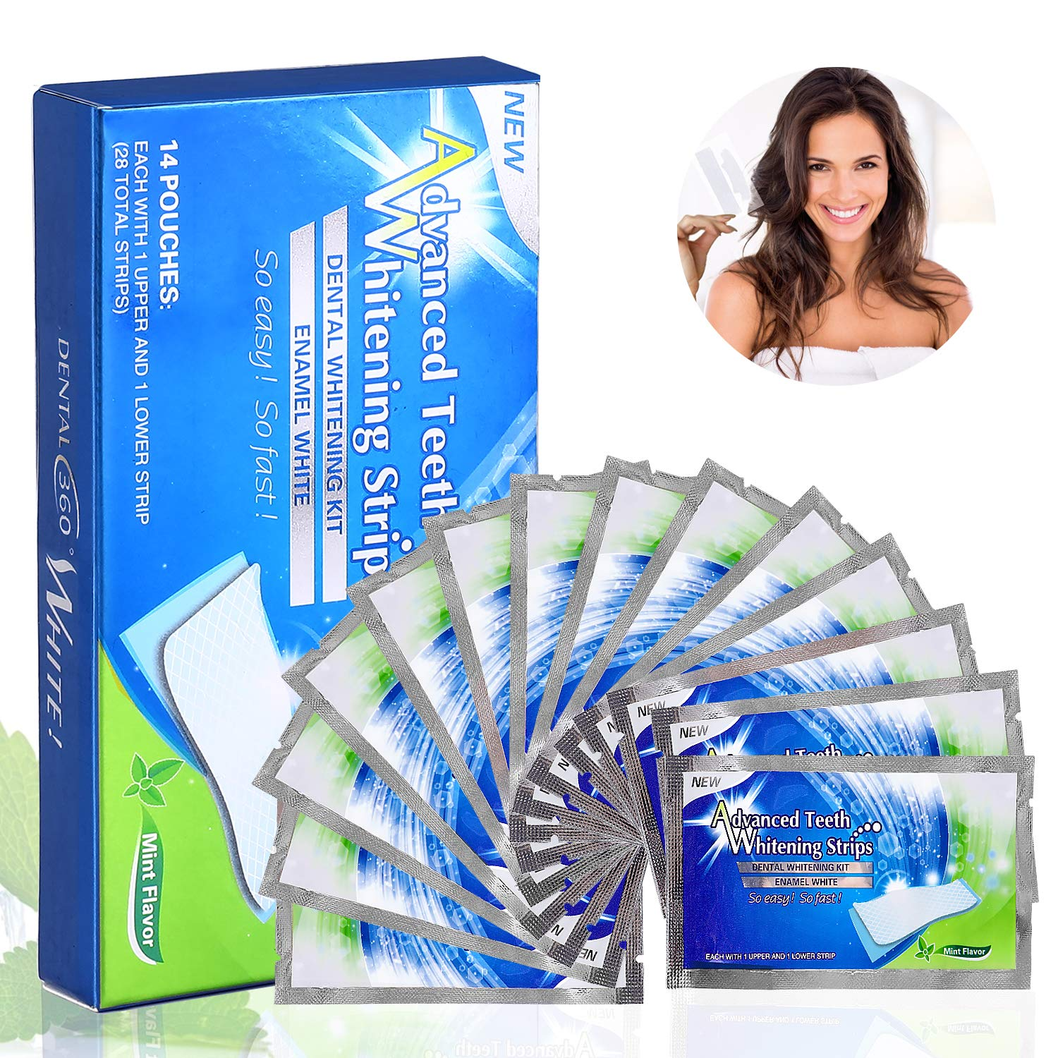 Teeth Whitening Strips, Fixget 28 Pieces 3D Teeth Stain Remover, Mint Flavor Freshen Breath, 14 Treatment, 30 Minutes Express, Non-Slip Tooth Bleaching Gel Strip for Sensitive Teeth