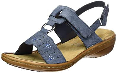 Rieker Damen 60843 Offene Sandalen mit Keilabsatz  41 EUBlau (Jeans / 14)