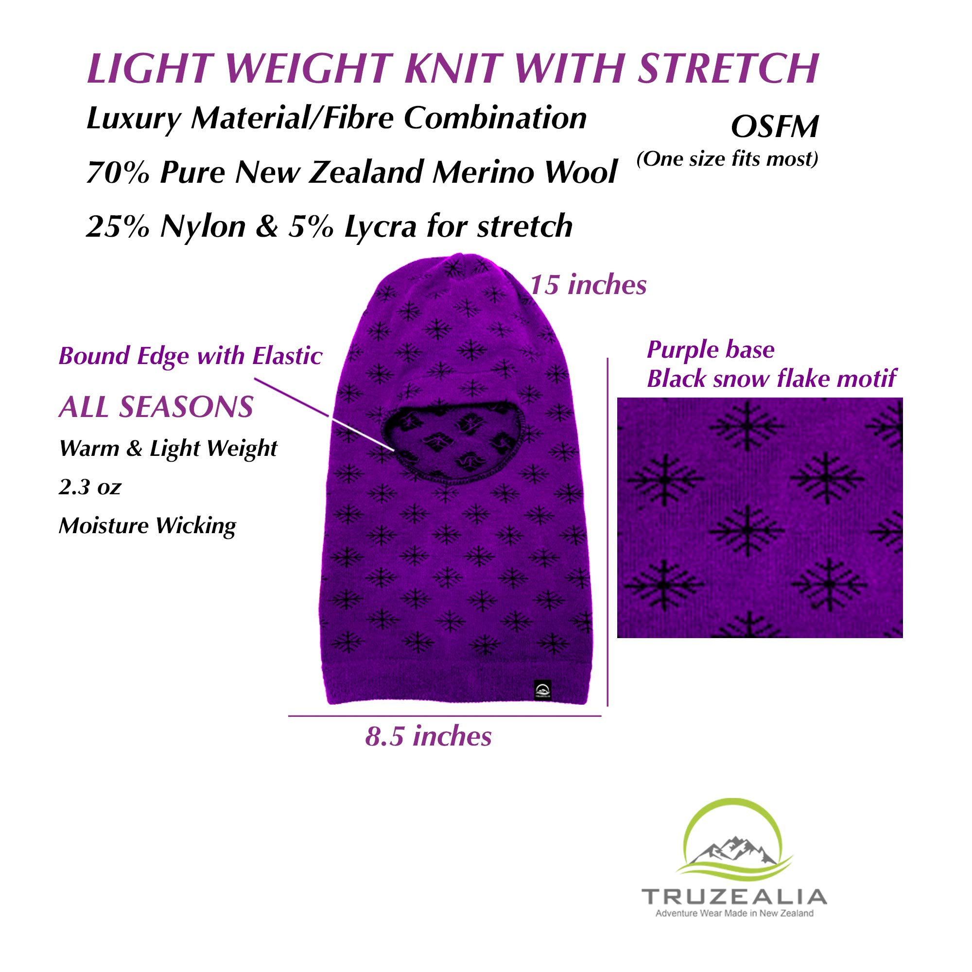 Balaclava Outdoor Wear Hat Cap Unisex New Zealand Made Merino Wool Luxurious Warmth and Soft with a Light Weight Stretchy Face Mask Stylish Unique Moisture Wicking with Thermal Properties Purple by Truzealia (Image #4)