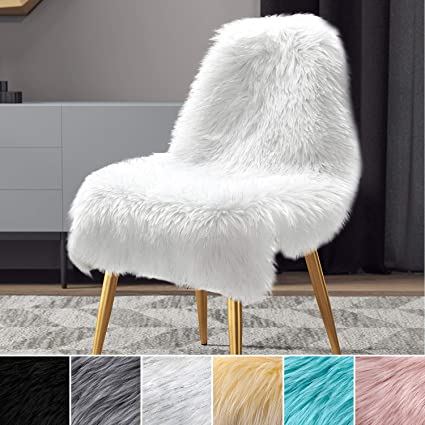 Admirable Lochas Soft Faux Sheepskin Chair Couch Cover Fluffy Rugs For Bedroom Faux Fur Area Rug Mixed Sequins Photography Carpet Floor 2X3 Feet White Mixed Pdpeps Interior Chair Design Pdpepsorg
