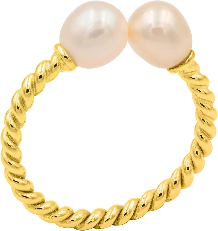 Anillo de Mujer de Perlas Cultivadas de Agua Dulce de color Natural Rosado de 6 mm Secret & You | Anillo de Plata de Ley de 925 milésimas bañado en Oro