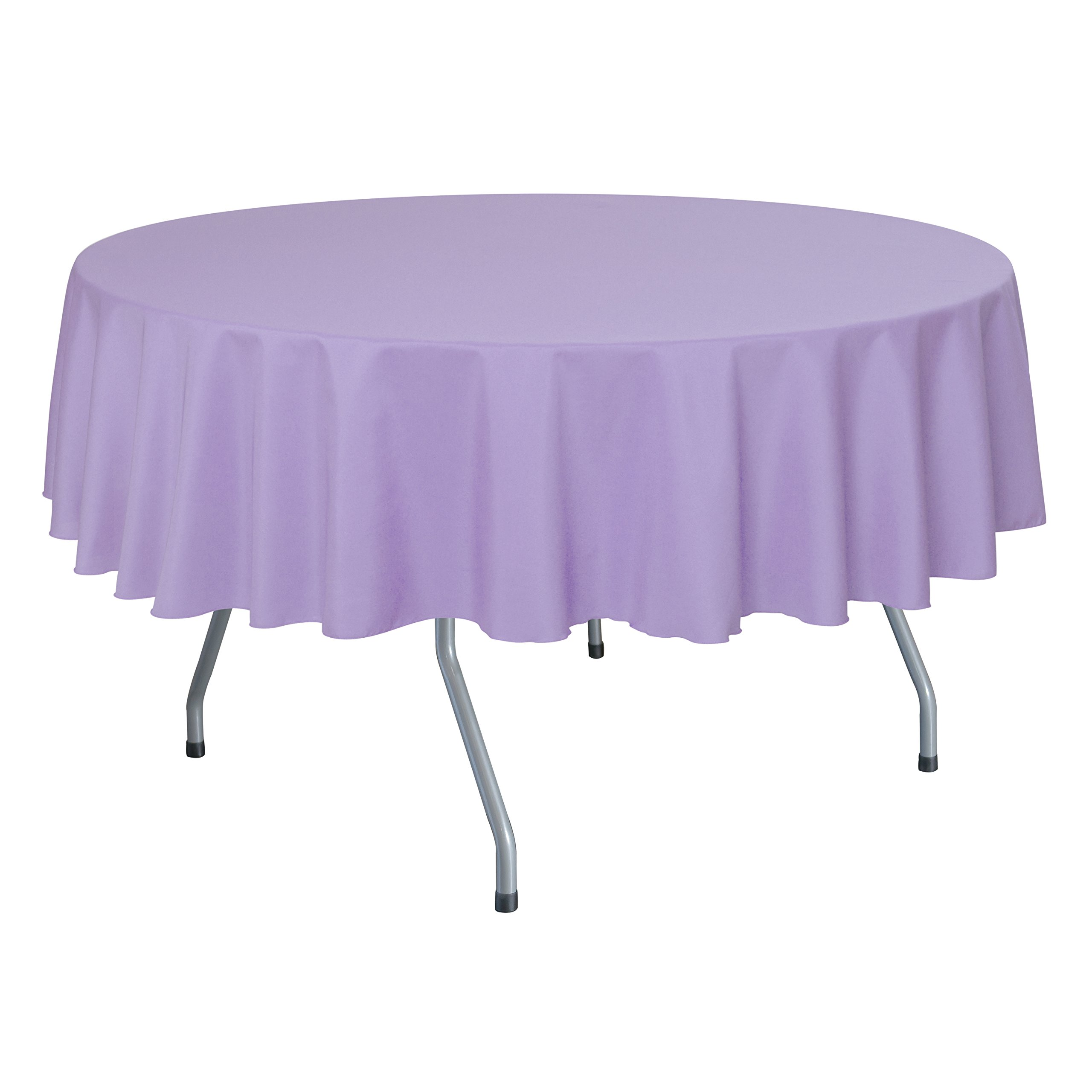 Ultimate Textile (10 Pack) 84-Inch Round Polyester Linen Tablecloth - for Wedding, Restaurant or Banquet use, Lilac Light Purple