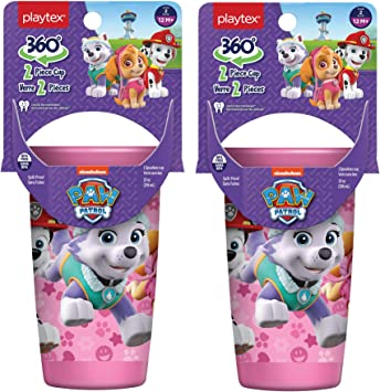 Playtex Sipsters Stage 2 360 Paw Patrol Spill Proof Leak Proof Break Proof Spoutless Cup For Girls 10 Ounce Pack Of 2 Kitchen Dining Amazon Com