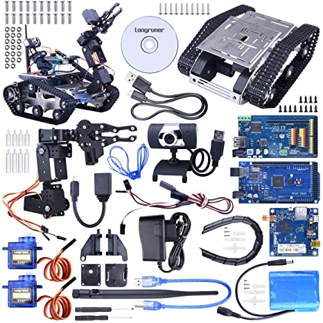 Longruner Kit de Robot de Coche WiFi con Mega2560 / Cámara HD, Robot Inteligente con