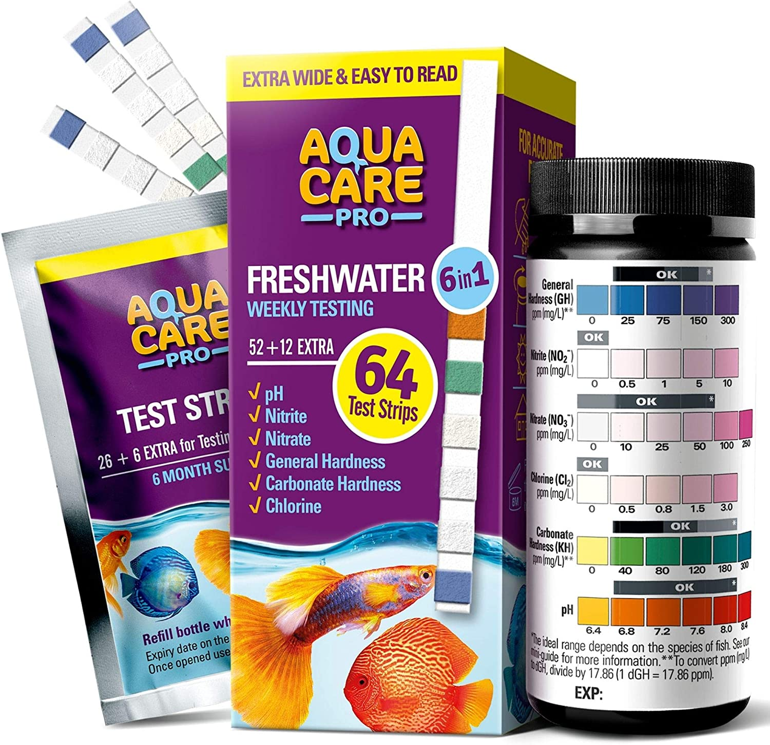 Freshwater Aquarium Test Strips 6 in 1 - Fish Tank Test Kit for Testing pH Nitrite Nitrate Chlorine General & Carbonate Hardness (GH & KH) - Easy to Read Wide Strips & Full Water Testing Guide