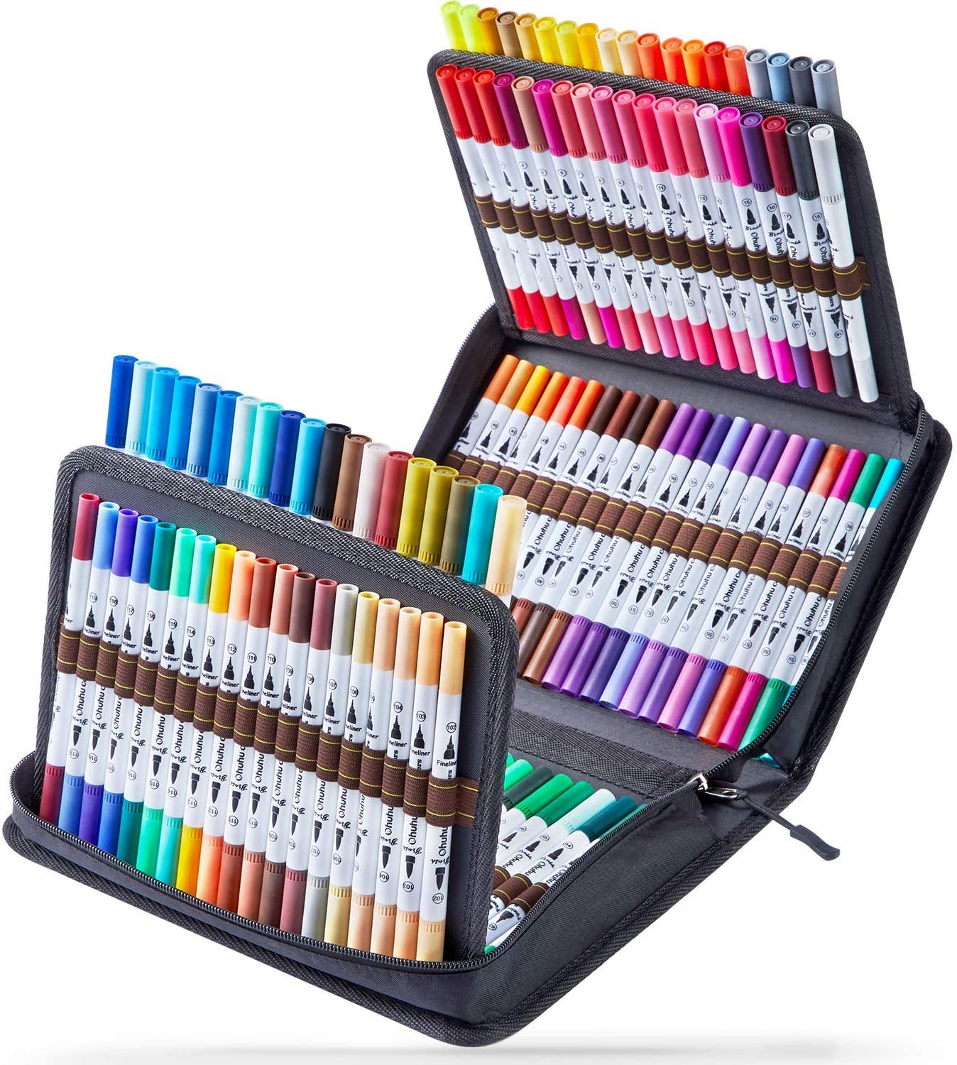 120 Colors Art Markers Set, Ohuhu Dual Tips Coloring Brush Fineliner Color Marker Pens, Water Based Marker for Calligraphy Drawing Sketching Coloring Bullet Journal Back To School Mother's Day Gift