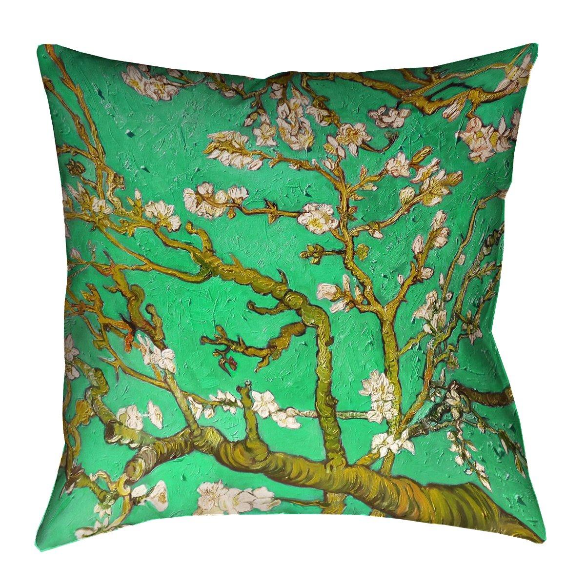 ArtVerse Vincent Van Gogh 20 x 20 Spun Polyester Almond Blossom in Green Pillow