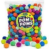 Carl & Kay [250 Pcs] 1 Inch Pom Poms in Bright & Bold Assorted Colors, Craft Pom Pom Balls, Pompoms for Crafts, Pom Pom for C