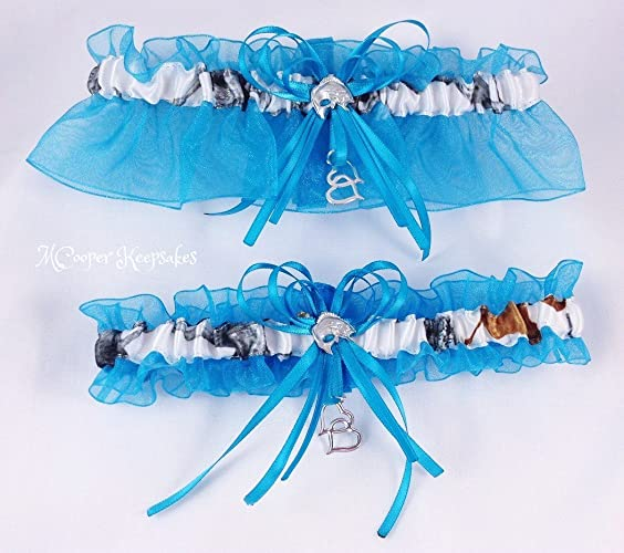 53723d45f4c Image Unavailable. Image not available for. Color  True Timber Snowfall  Satin Camo   Teal Garter Set ...