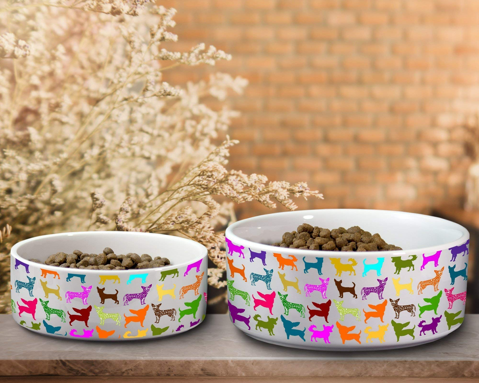 Chihuahua Colorful Ceramic Dog Water or Food Bowl - Small or Large Available