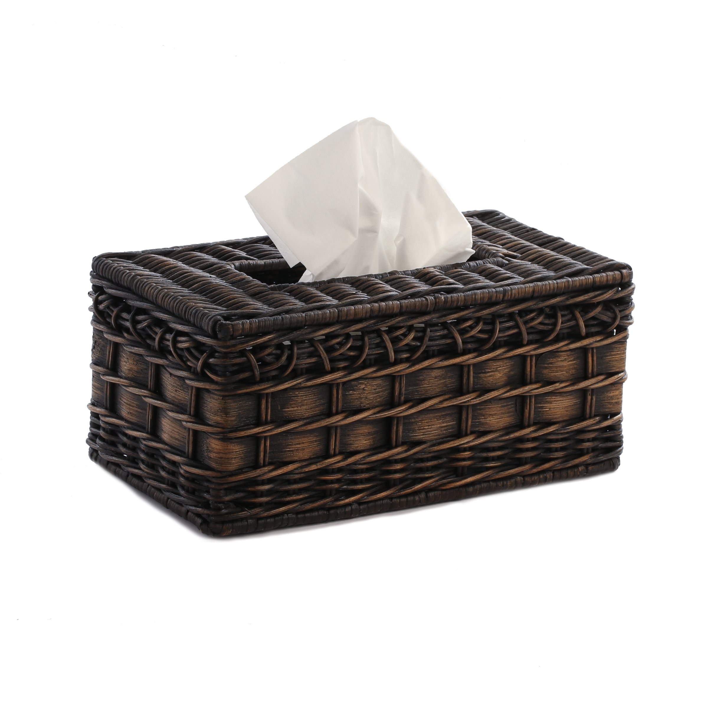 The Basket Lady Wicker Large Tissue Box Cover, 10.75 in L x 6 in W x 4.5 in H, Antique Walnut Brown