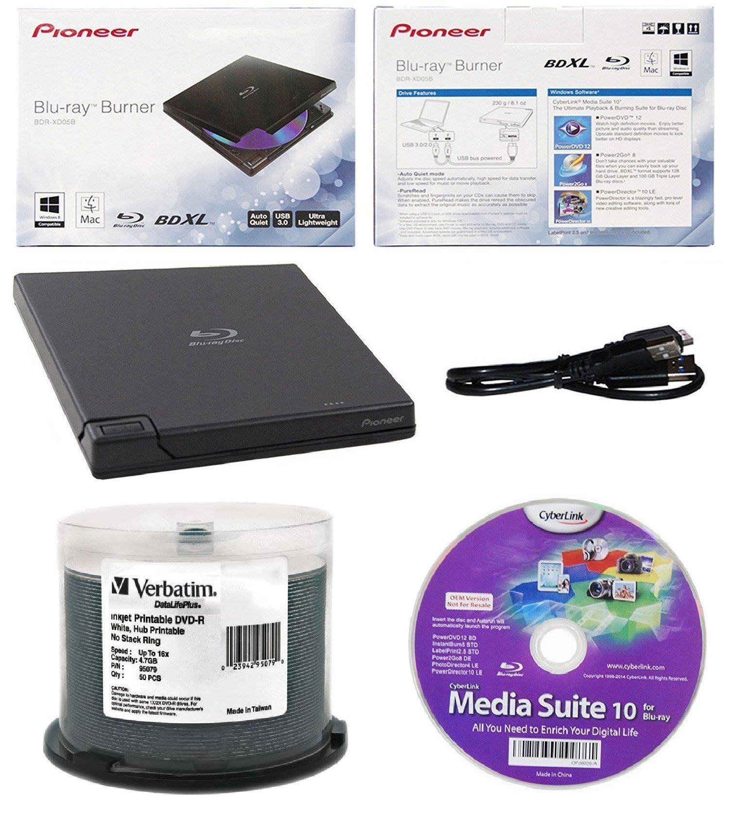 Pioneer 6x BDR-XD05B Ultra Lightweight External Blu-ray BDXL Burner, Cyberlink Software and USB Cable Bundle with 50pk DVD-R Verbatim 4.7GB 16X DataLifePlus White Inkjet, Hub Printable