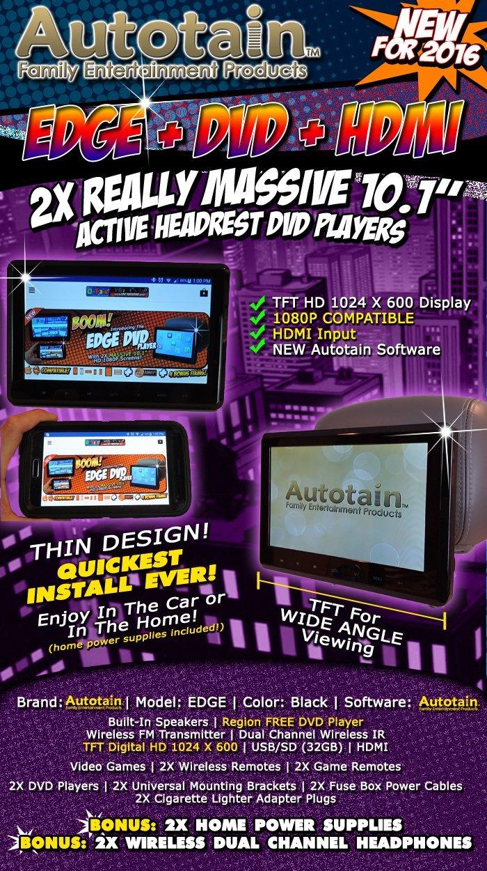 Pair Autotain Edge 101 Inch Slim Active Headrest Fuse Box Headphones Monitor Dvd Player Hdmi 1080p Home Power Cables Cloud Car Electronics