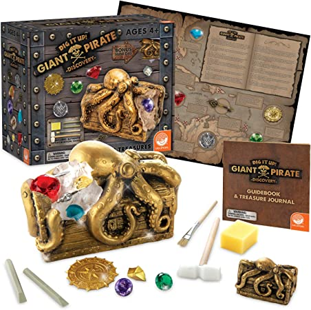 MindWare Dig It Up Discoveries Pirate: Giant Discovery Project for Kids – Dig up 13 Inspiring Charms – Includes a Bonus dig, 2 chisels and 1 Poster Filled with Pirate Facts and lore