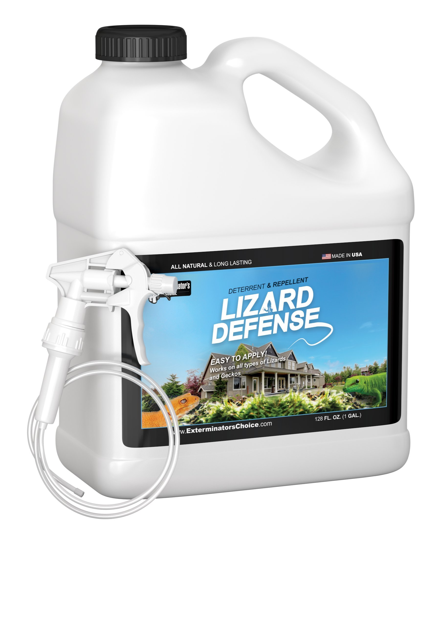 Lizard Defense One Gallon (128 oz) Natural Repellent and Deterrent for All Lizards and Geckos by Exterminators Choice