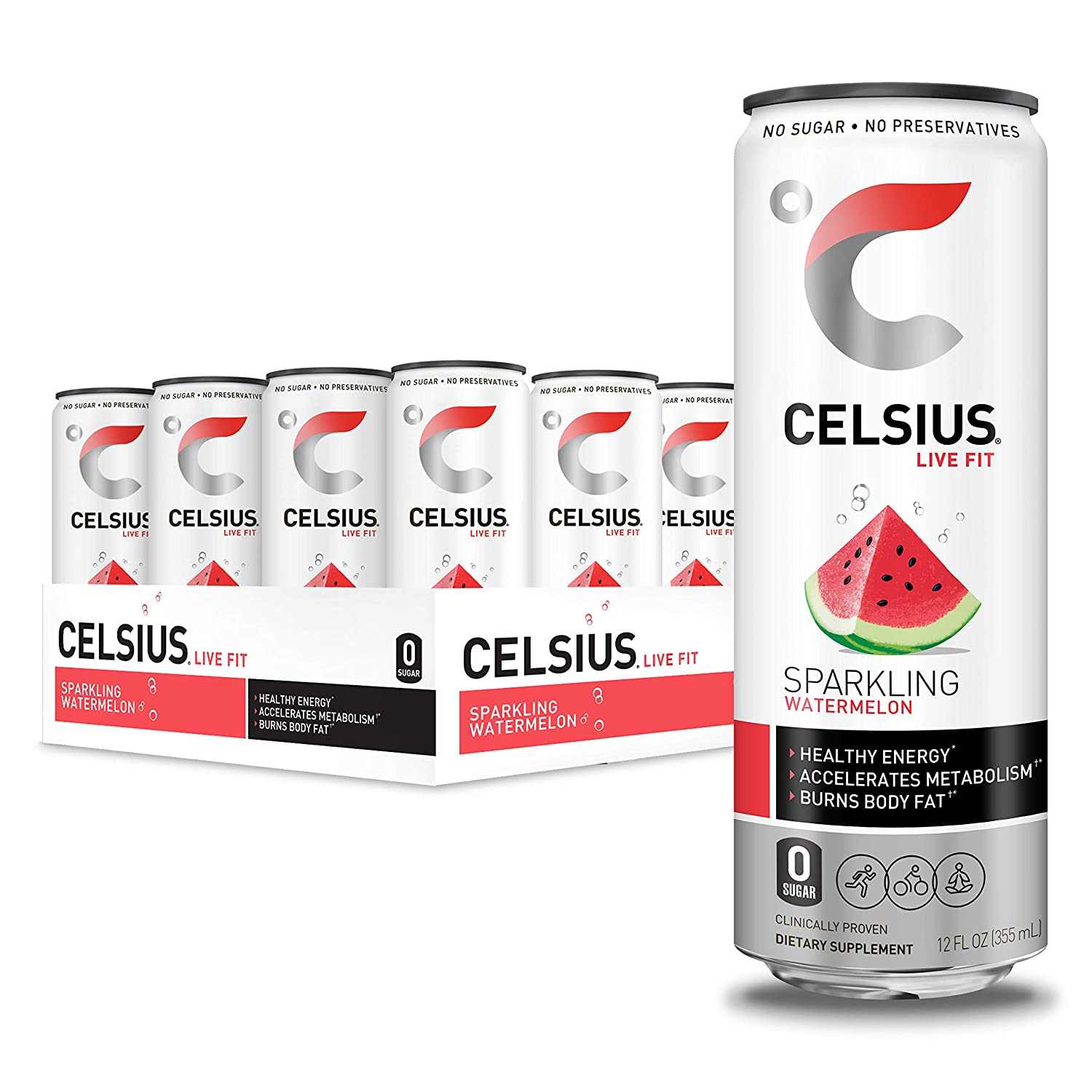 CELSIUS Sparkling Watermelon Fitness Drink, Zero Sugar, 12oz. Slim Can, 12 Pack