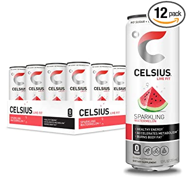 CELSIUS Sparkling Watermelon Fitness Drink, Zero Sugar, 12oz. Slim Can (Pack of 12)