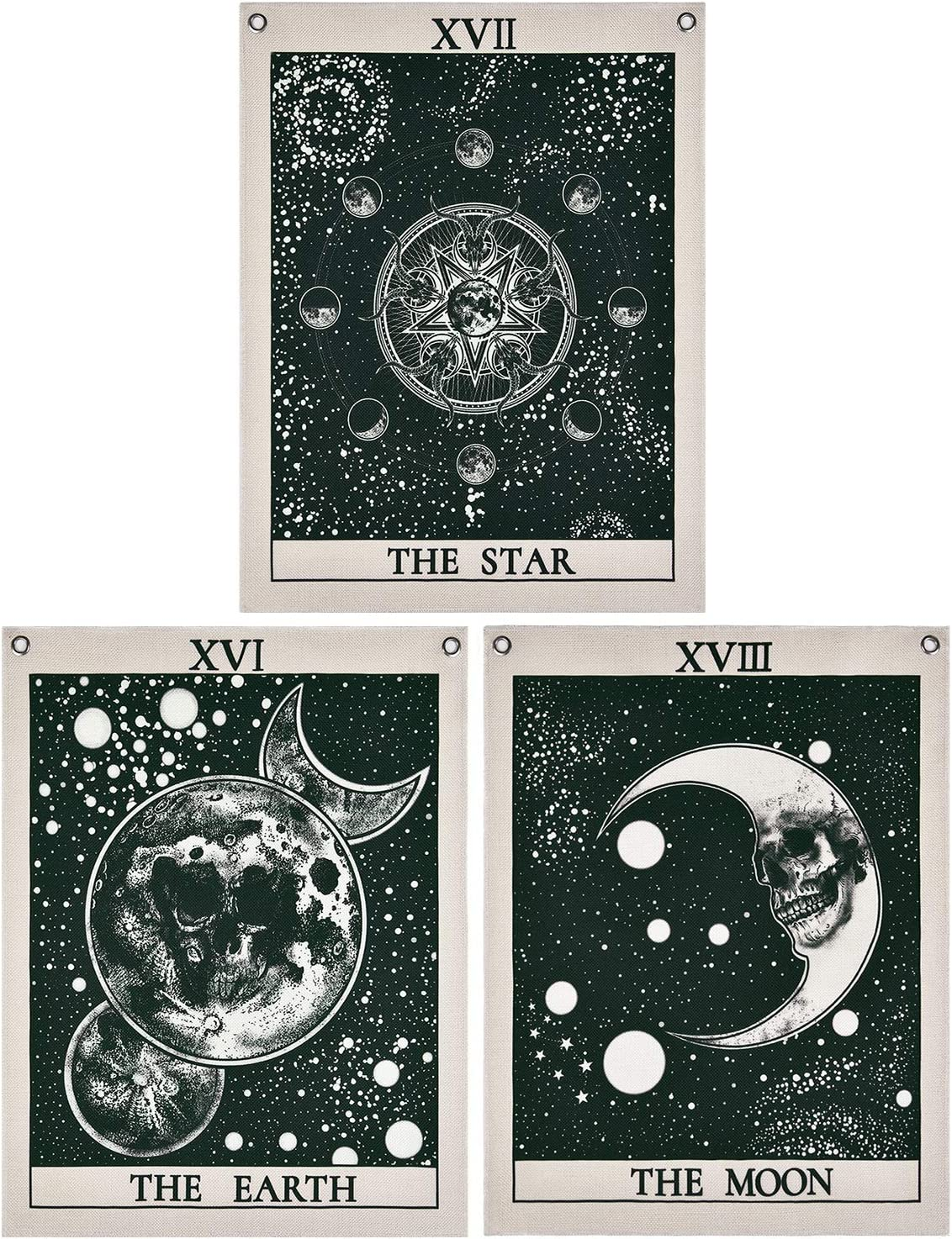 Krelymics Pack of 3 Tarot Tapestry, The Star The Moon The World Tarot Card Tapestry Mysterious Medieval Europe Divination Tapestry with Rustproof Grommets, Seamless Nails