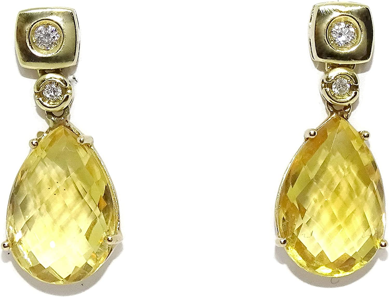 Pendientes de oro amarillo de 18k con piedra natural, citrino de 1.20 x 0.90cm, y diamantes de 0.09cts. Cierre presión. 2.40cm de largos. Especial mujer.