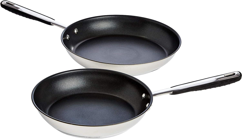 AmazonBasics Juego de sartenes de acero inoxidable (24cm y 28 cm), para cocina de inducción, antiadherentes, con mango suave al tacto, 2 piezas