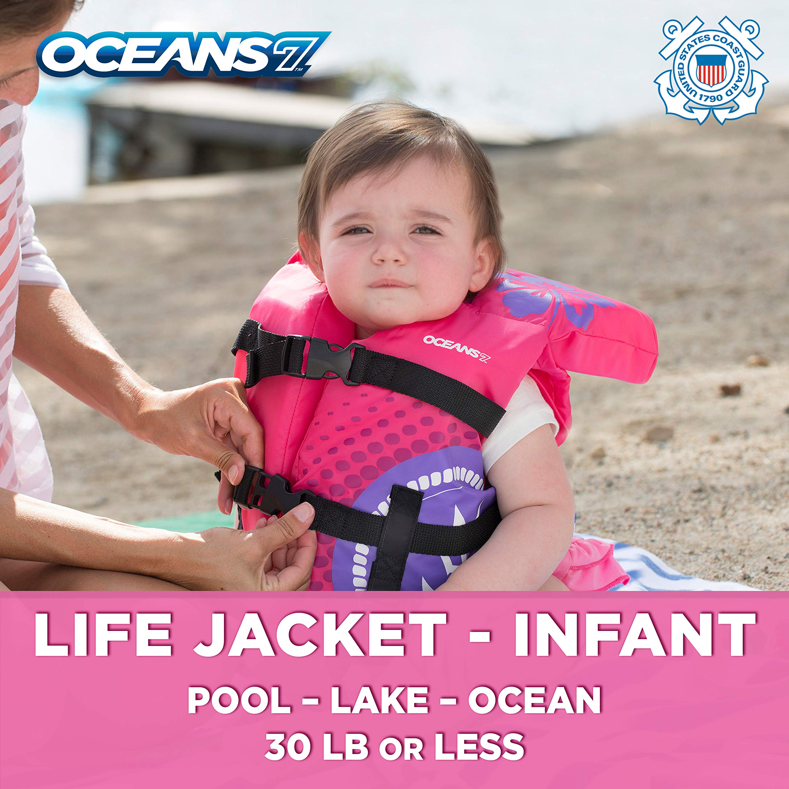 Oceans7 Us Coast Guard Approved, Infant Life Jacket, Type II Vest, PFD, Personal Flotation Device, Flex-Form Chest, Pink/Berry by Oceans 7