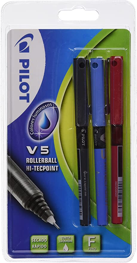 Pilot V5 - Blíster de bolígrafos, 3 unidades: Amazon.es: Oficina y papelería