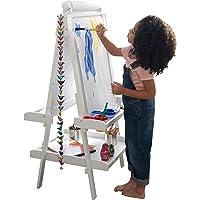 KidKraft 62040 Caballete artístico de Madera para niños con Rollo de Papel y 2 recipientes para Pintura en Color Blanco